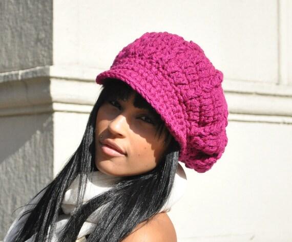 Magenta Crocheted Newsboy Cap - Crochet Hat with Brim for Adult - Winter Accessories - Women's Accessories - Crochet Hat Women and Teens