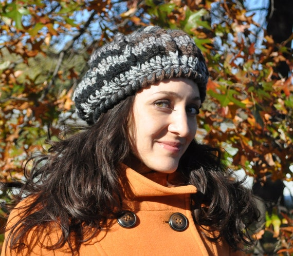 Crocheted Hat - Slouchy Beret - Grey, Brown, Black - Adult Hat