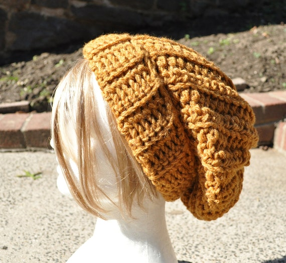 Simply Slouchy Hat - Crocheted in Honey Gold - Now made longer