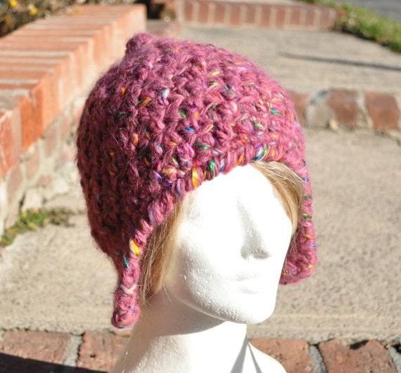Wool Earflap Hat - Pink Crocheted Hat - Winter Accessories