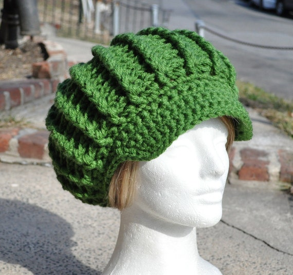 Crocheted Hat Adult - Kelly Green - Crocheted Newsboy Hat - New Style