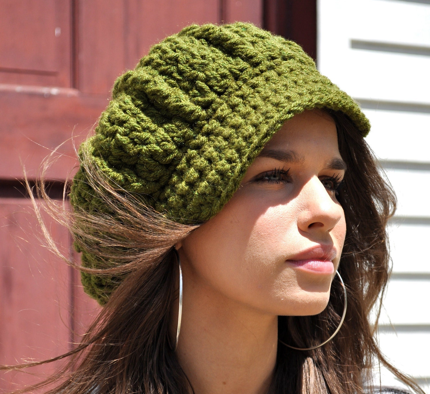 Womens Crochet Newsboy Hat with Brim Olive Green by TepperWear
