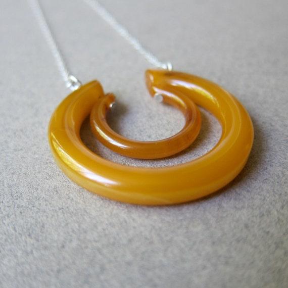 Butterscotch Bakelite Hoop Necklace