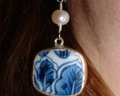 Blue & White Chinese Pottery Earrings