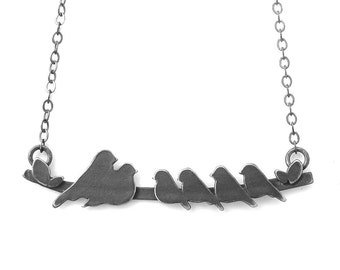 The Original Family Bird on a Branch Necklace with Parents & 4 Baby Bird designed by Rhonda Wyman! DARK FINISH