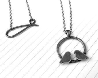Circle Lovebird Necklace with Dark Grey Finish