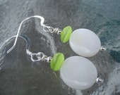 Mother of Pearl and Fiber Optic Sterling Silver Earrings