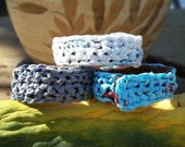 Recycled art plastic crocheted wristband