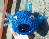 Recycled art-  crocheted plastic blue fish