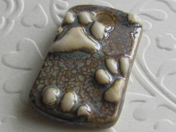 Ceramic Pendant   Paw prints