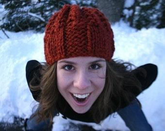 Chunky Burnt Orange Knit Women's Hat/ Beanie/ Cloche