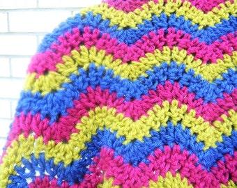 Baby Blanket/ Afghan - Boy or Girl. Blue, Pink, Green Ripple