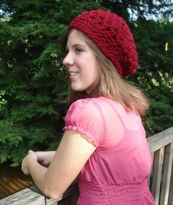 Crochet Beret Hat Pattern - Bonjour Beret Women's Hat For Fall Or Winter - Instant Download