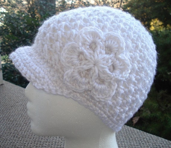 Crochet Newsboy Hat Pattern.  Make a Beanie, a Newsboy Hat or Cap, and a Flower all in one design.