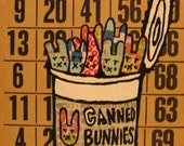 Canned Bunnies Original Collage