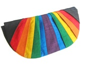 Rainbow Pleated Silk Clutch Purse