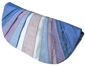 Monochromatic Periwinkle Pleated Silk Clutch Purse