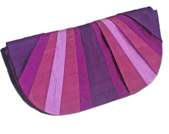 Violets Pleated Silk Clutch Purse