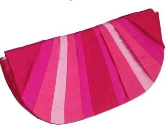 Hot Pink Pleated Silk Clutch Purse