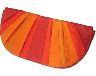 Pleated Silk Clutch Purse - Marigold