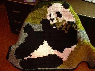 Lazy Giant Panda Bear Afghan Baby Blanket