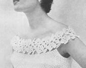 1955 Glamorous Evening Blouse PDF Vintage Crochet Pattern Instant Download 089