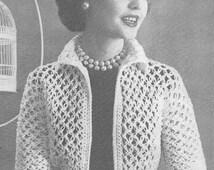1950's Shortie Jacket Vintage Crochet Pattern PDF Instant Download 018