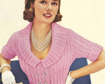 1955 Shortie Jacket Instant Download Vintage Knitting Pattern PDF 253