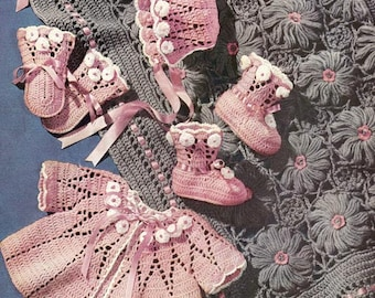 1952 Floral Baby Girl Set: Sacque, Cap, Mittens, Booties and Carriage Cover Vintage Crochet Patterns Instant Download PDF 056