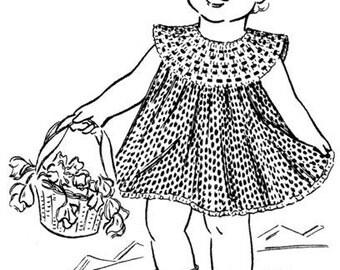 1950's Child's Easy Dress Vintage Crochet Pattern Instant Download PDF 107
