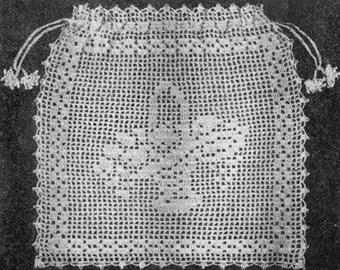 1921 Bridal Bag Filet Crochet Vintage Crochet Pattern PDF Instant Download 202