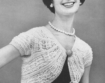 1950's Knitted Shrug Vintage Knitting Pattern Instant Download PDF 119