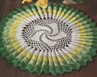 1950's Sunburst Ruffle Doily Vintage Crochet Pattern Instant Download PDF 429