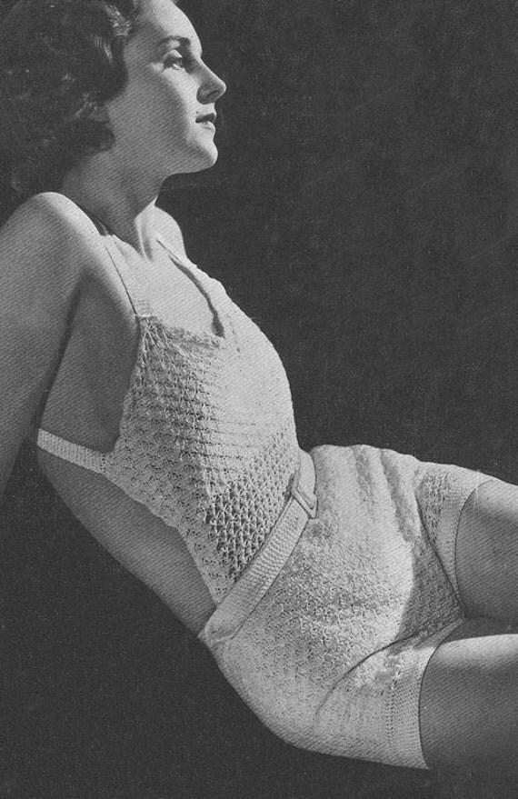 1934 Bathing Suit Vintage Crochet Pattern Swimsuit PDF Instant Download 371