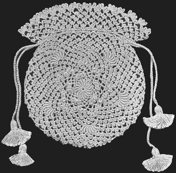 Crochet Lace Wedding Garter Pattern: 1913 Bridal Bag In Irish Crochet Lace Vintage Crochet By