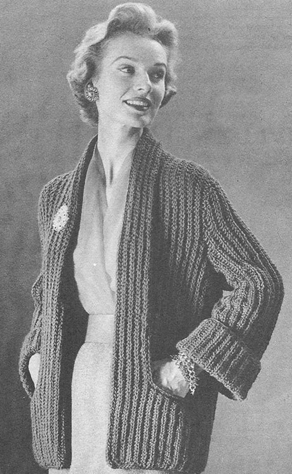 1955 Tuxedo Coat Vintage Knitting Pattern PDF 273 by annalaia
