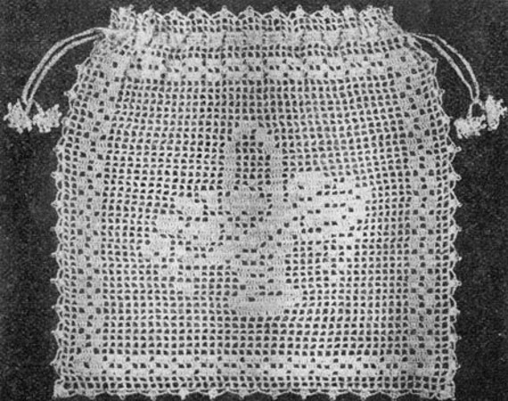 1921 Bridal Bag Filet Crochet Vintage Crochet Pattern Pdf