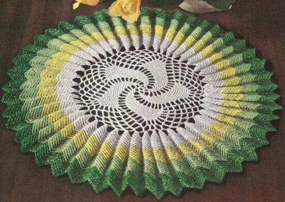 1950's Sunburst Ruffle Doily Vintage Crochet Pattern Instant Download PDF 429