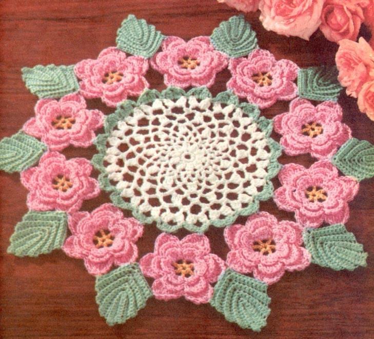 Irish Crochet Rose Motif Free Pattern : 1950s Irish Rose Doily Vintage Crochet Pattern PDF