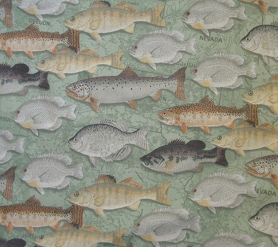 patty reed fish print fabric by emmysearrings on etsy
