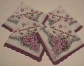 Hand Embroidered Vintage Style Handkerchief -- Will you be my Bridesmaid -- Set of Four