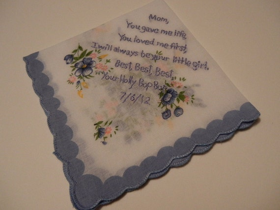 Hand Embroidered Message Handkerchief -- Your Custom Text in Embroidery