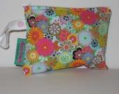 Designer Mini Make-Up Bag - Retro Funky Flowers