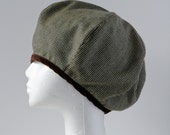 Wool houndstooth beret (size L)