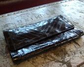 Vintage black eelskin clutch