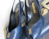 70s Blue Leather Italian Shoes - Vintage Maserati - Peep Toe - Slingback High Heels 7 B