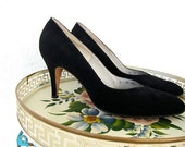 50s 60s Black Suede Shoes Vintage - Paul Allan High Note of Fashion - Elegant Black Pumps - 8 N
