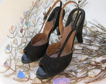50s Peep Toe Black Suede Shoes - Pandora Vintage Slingback - Pleated Front - High Heels - 6.5 aa