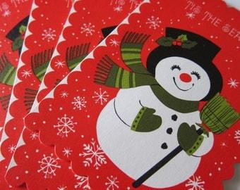 Vintage Snowman Holiday Christmas Party Invitations - Cards - Notecards Card Set - Holiday Decor - Paper Ephemera - Tis The Season