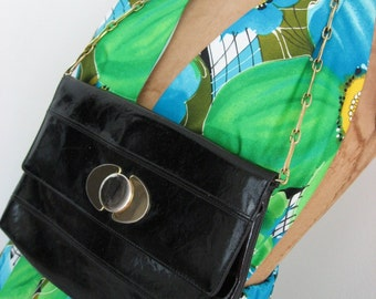 60s Ronay Black Patent Wet Look Vintage Purse - Chain Handle - Two Tone Clasp - Handbag Shoulder Bag Clutch